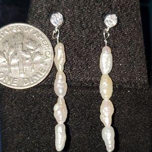 Handmade 925 SS seed pearl bar drop earrings 37mm